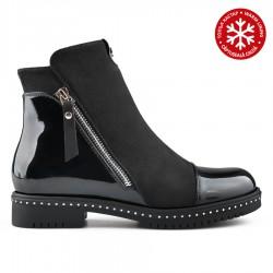 černá kotníková obuv kombinovaná s lakem Tendenz REW19-044
