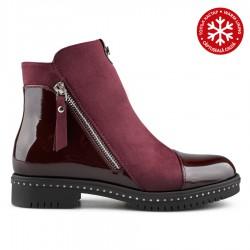 bordó kotníková obuv kombinovaná s lakem Tendenz REW19-044