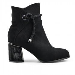 černá elegantní kotníková obuv na širokém podpatku Tendenz MGW19-004