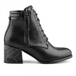 černá kotníková obuv na širokém podpatku Tendenz MGW19-012