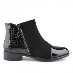 černá kotníková obuv kombinovaná s lakem Tendenz REW19-069
