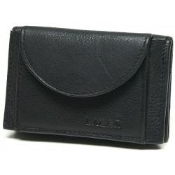 unisex černá kožená peněženka W-2030