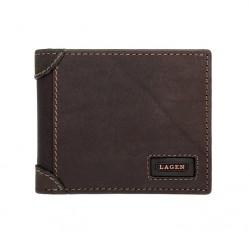 pánská hnědá kožená peněženka LG-1123