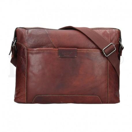pánská hnědá (TAN) kožená taška s přihrádkou na notebook 23605