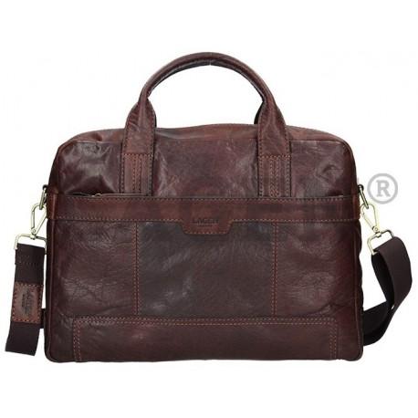 pánská tmavě hnědá kožená taška přes rameno s přihrádkou na notebook LN-22011