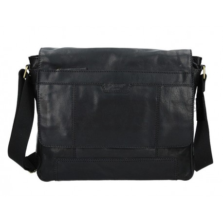 pánská černá kožená taška přes rameno s přihrádkou na notebook LN-22012