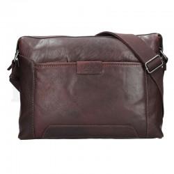 pánská tmavě hnědá kožená taška s přihrádkou na notebook 23605