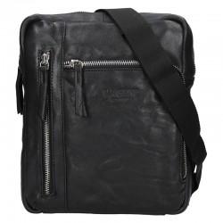 pánská černá kožená taška přes rameno 225-5