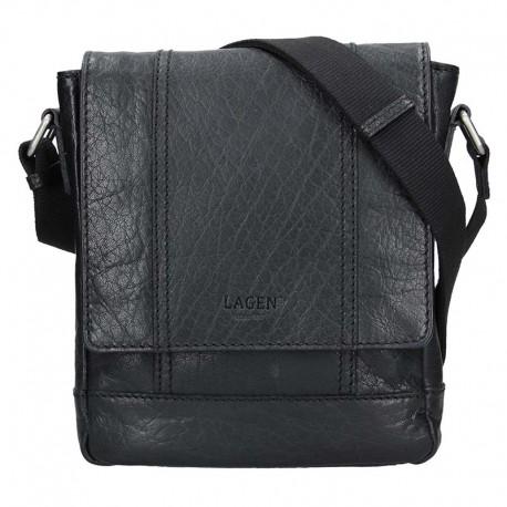 pánská černá kožená taška přes rameno 25696