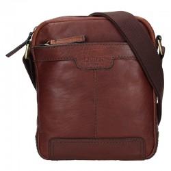pánská hnědá kožená taška přes rameno 20654