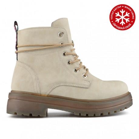 bílá kotníková obuv (farmářky) s vnitřním kožíškem Tendenz QMW19-031