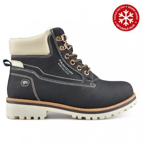 černá kotníková obuv (farmářky) s vnitřním kožíškem Tendenz QMW19-032