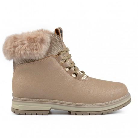 béžová kotníková obuv (farmářky) se třpytkami s vnitřním kožíškem Tendenz RIW18-003