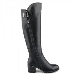 černé vysoké kozačky nad kolena na širokém podpatku Tendenz REW19-027