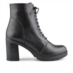 černá kožená kotníková obuv na širokém podpatku Tendenz NBW19-013