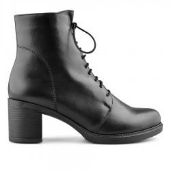 černá kožená kotníková obuv na širokém podpatku Tendenz NBW19-024