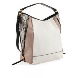bílo-béžová kabelka s hadím vzorem Tendenz FFS20-010