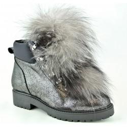 stříbrná kožená stylová kotníková obuv s ozdobným kožíškem Bari Mona 34
