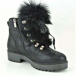 černá kožená stylová kotníková obuv s ozdobným odepínacím kožíškem Bari Vammala 17