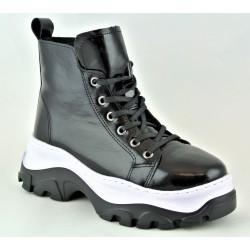 černá kožená stylová kotníková obuv na platformě Bari Vammala 17