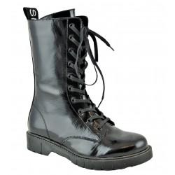 černé kožené lakované stylové polokozačky Bari British 01