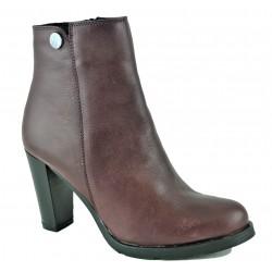 bordó kožená kotníková obuv na podpatku Larisa 37