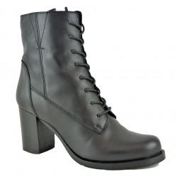 černá kožená elegantní kotníková obuv na širokém podpatku Bari Monaco 05