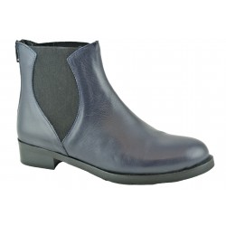 tmavě modrá kožená kotníková obuv se vsazenými gumami Venera 08