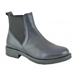 tmavě modrá kožená kotníková obuv se vsazenými gumami Top 118