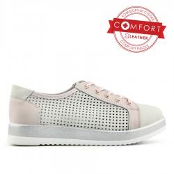 šedo-růžové kožené tenisky Tendenz NTS20-061