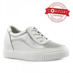 bílo-stříbrné kožené tenisky Tendenz NTS20-021