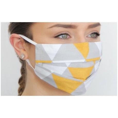 ochranná se žlutými trojuhelníky rouška s ionty stříbra MOBO01