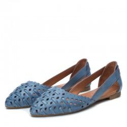 modré kožené španělské dírkované baleríny Carmela 67112