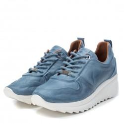 modré kožené španělské tenisky na platformě Carmela 67143