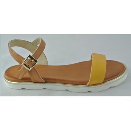 žluto-hnědé kožené sandálky Bari Sevil 04