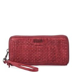 červená kožená proplétaná peněženka 5108 NB