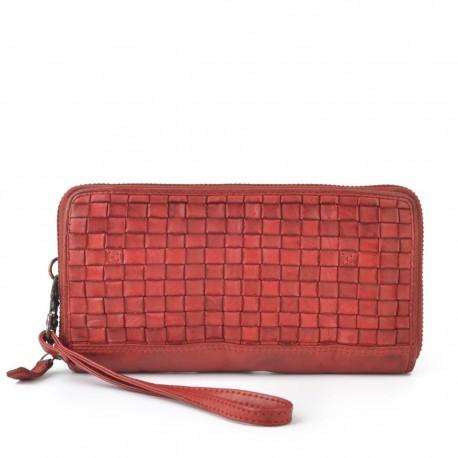 červená kožená proplétaná peněženka 5103 NB