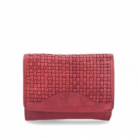 červená kožená proplétaná peněženka 5109 NB