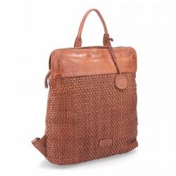 hnědý kožený proplétaný batoh NB 2019