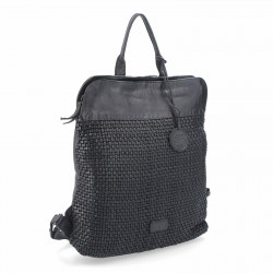 černý kožený proplétaný batoh NB 2019