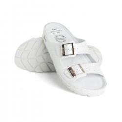 zdravotní bílé kožené pantofle s mřížkovaným vzorem BATZ Zorka