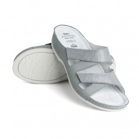 zdravotní šedé kožené pantofle BATZ Eni
