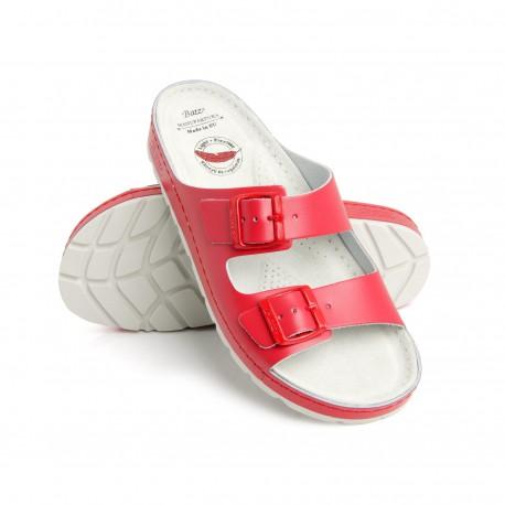 zdravotní červené kožené pantofle BATZ Zenna
