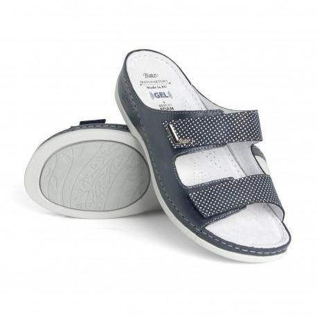 zdravotní tmavě modré kožené pantofle s puntíky BATZ FC07