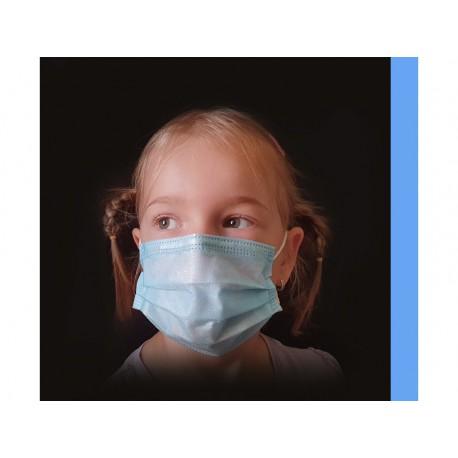 10 ks (9 Kč/kus)-dětské modré medicínské jednorázové certifikované roušky, vyrobeno v EU