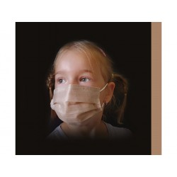 50 ks (9 Kč/kus)-dětské béžové medicínské jednorázové certifikované roušky, vyrobeno v EU