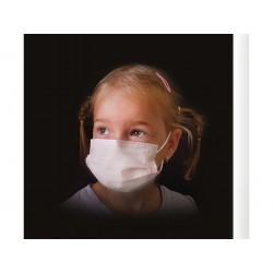 50 ks (8 Kč/kus)-dětské bílé medicínské jednorázové certifikované roušky, vyrobeno v EU