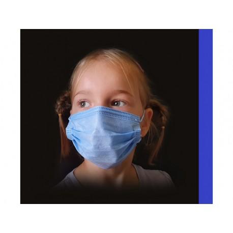 50 ks (8 Kč/kus)-dětské tmavě modré medicínské jednorázové certifikované roušky, vyrobeno v EU
