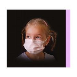 50 ks (10 Kč/kus)-dětské světle růžové medicínské jednorázové certifikované roušky, vyrobeno v EU