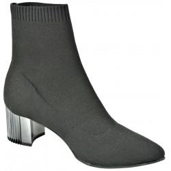 černá stretchová kotníková obuv na širokém podpatku Gido 1455/2633